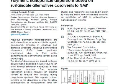 Polymeric nanoparticle dispersions based on sustainable alternatives cosolvents to NMP